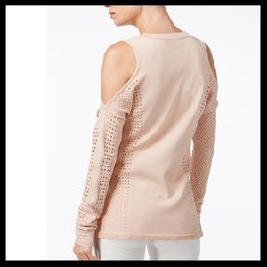 bar III // cold shoulder perforated lace sweater